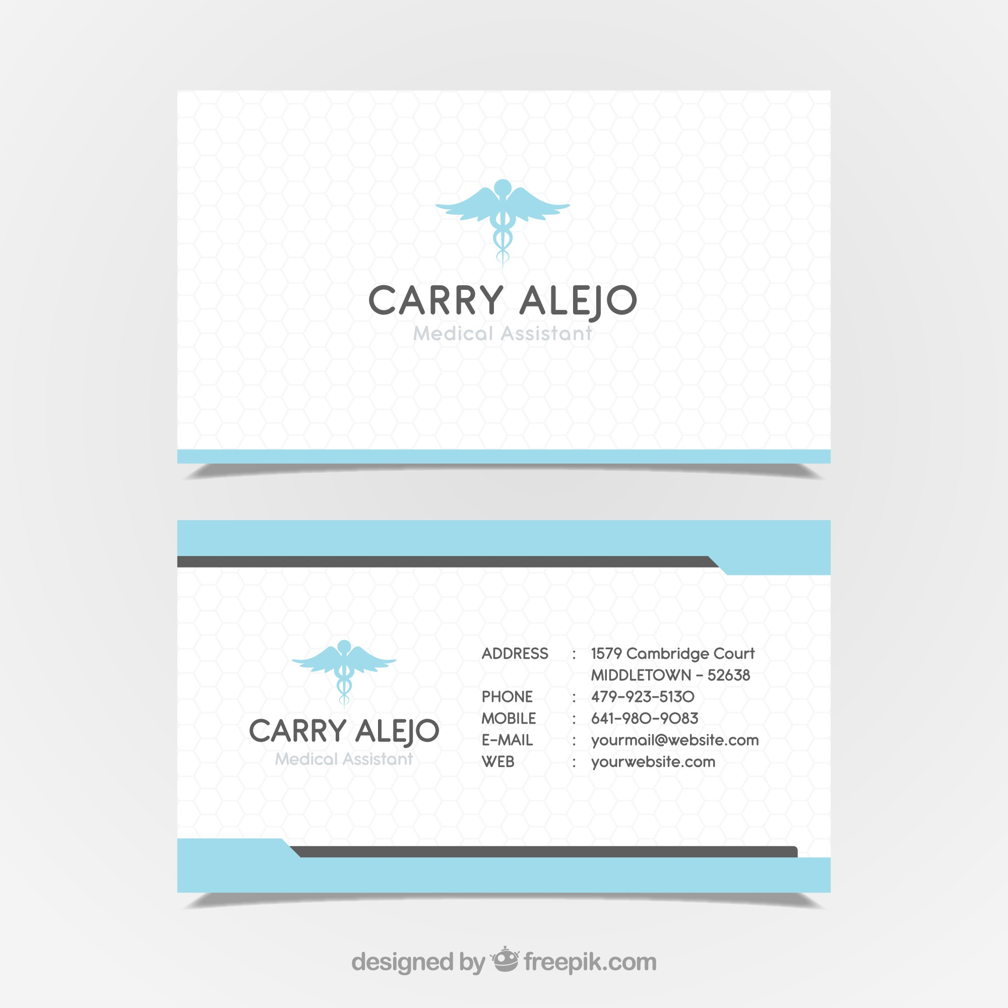 Business card with medical concept in modern style