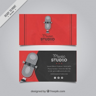 Business card with a microphone for a music studio