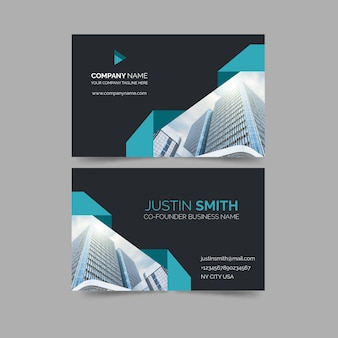 Business card with minimalist shapes and photo template