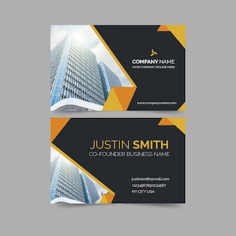 Business card with minimalist shapes and photo