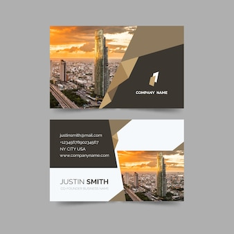 Business card with minimalist shapes and picture template