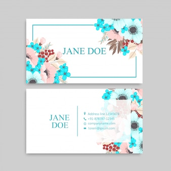 Business card with mint and pink flowers