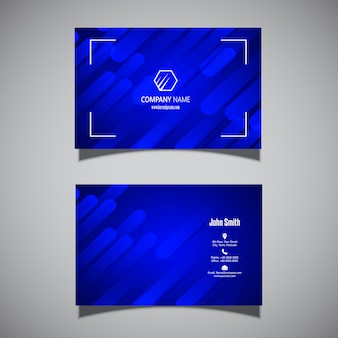 Business card with a modern electric blue design