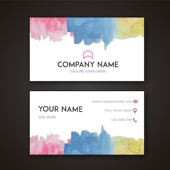Business card with multicolor watercolor desig