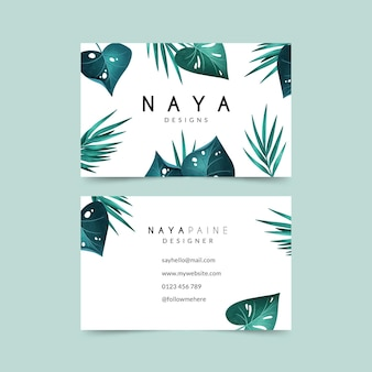 Business card with natural motifs pack