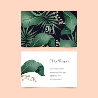 Business card with natural motifs set