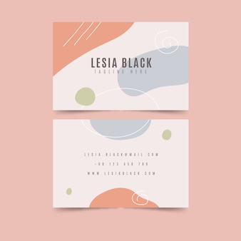 Business card with pastel-colored stains abstract template set
