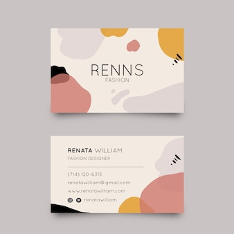 Business card with pastel-coloured stains