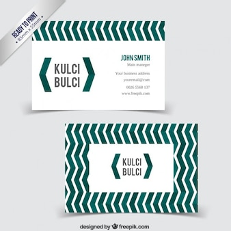Business card with pattern in zig zag