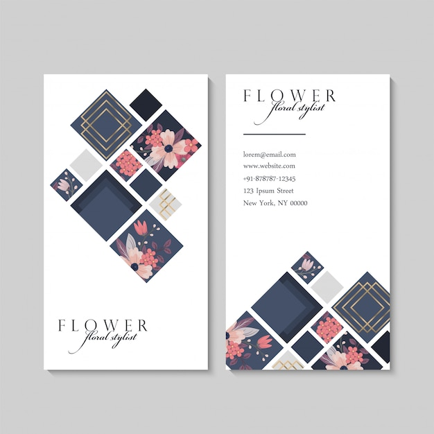 Business card with pink flowers and geometric elements