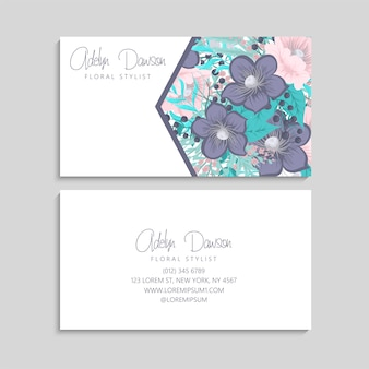 Business card with pink and mint flowers. template