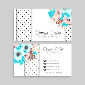 Business card with pink and mint flowers.