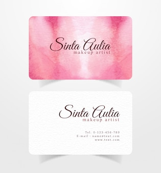 Business card with pink red brushstrokes watercolor template