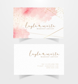 Business card with pink splash watercolor background