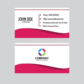 Business card with pink wave