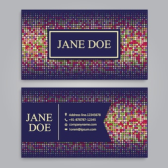 Business card with pixel design
