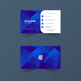 Business card with polygonal shapes and blue color