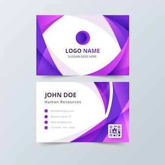 Business card with purple abstract shapes