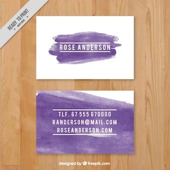 Визитная карточка с фиолетовыми мазками