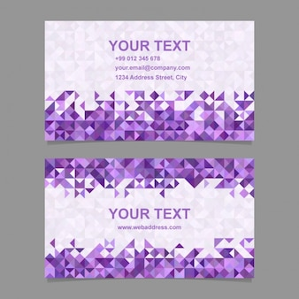 Business card with purple polygonal shapes