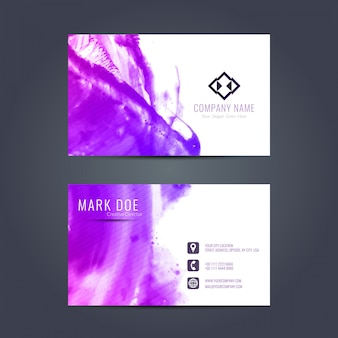 Business card with purple watercolors