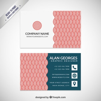 Business card with red japanese pattern