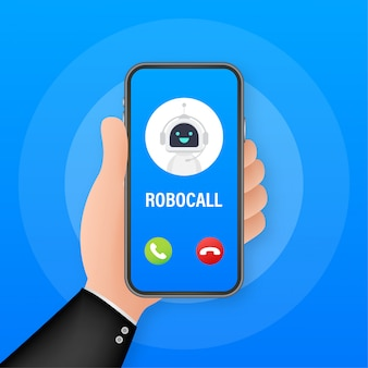 Business card with robo call. mobile phone. robo call. cpam.   illustration.