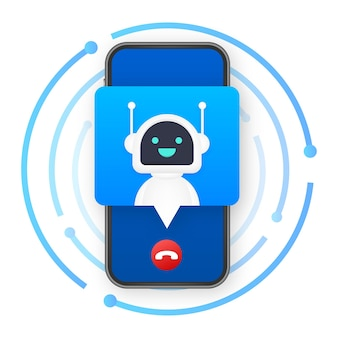 Business card with robo call. mobile phone. robo call. cpam. vector stock illustration.