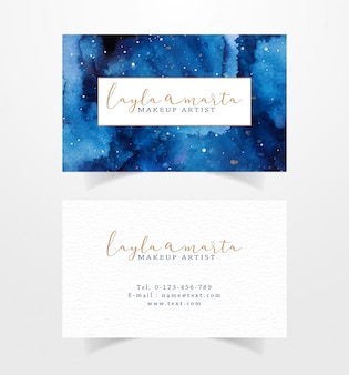 Business card with sky galaxy watercolor background