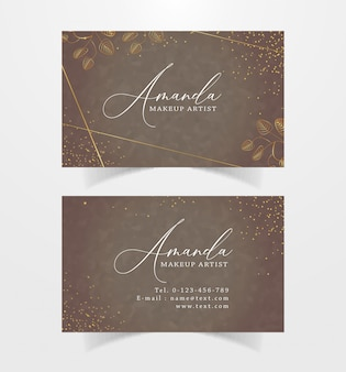 Business card with sparkle and floral line Premium Vector
