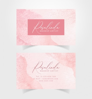 Business card with splash and sparkle watercolor