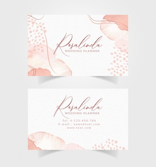 Business card with splash watercolor template