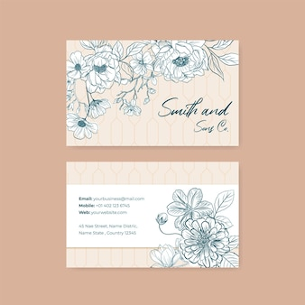Business card with spring line art concept design watercolor illustration