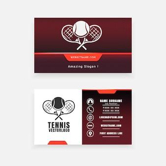 Визитная карточка с теннисным логотипом, концепция спортивной школы
