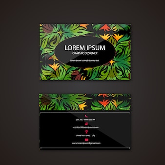 Business card with tropical design