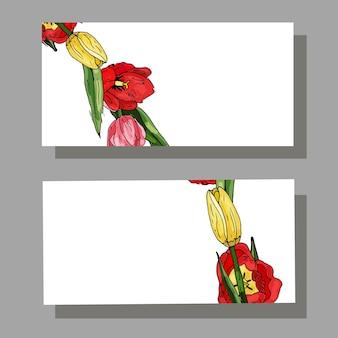 チューリップと緑の葉の名刺テキストのスペースの場所をコピー装飾的な花のカード