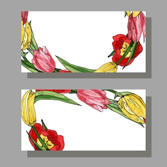 Business card with tulip and green leaves copy space place for text decorative floral cards