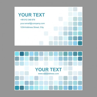 Business card with turquoise squares