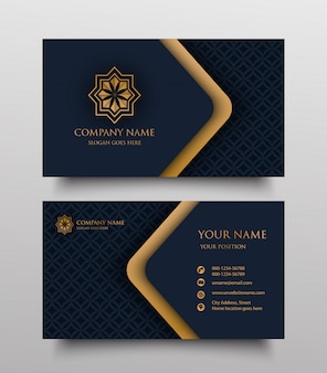 Business card with vintage gold floral logo and place for text