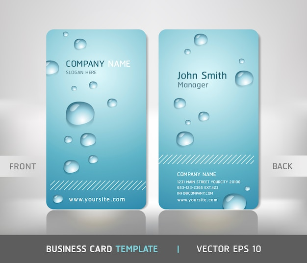 Business card with water drop.