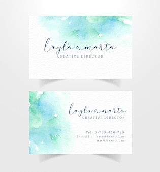 Business card with watercolor blue and green stains template