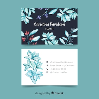 Business card with watercolor floral design