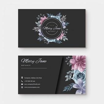Business card with watercolor floral style
