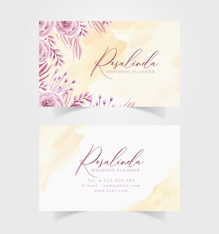 Business card with watercolor floral template