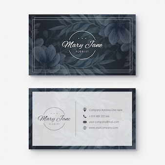 Business card with watercolor flower style