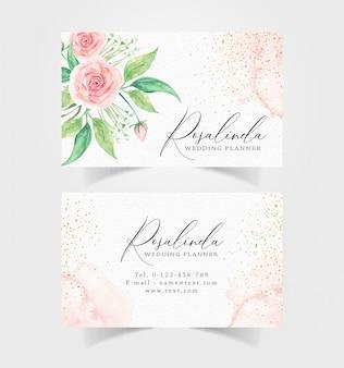 水彩花と輝きの背景付きの名刺 Premiumベクター