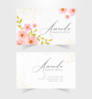 Business card with watercolor flowers background