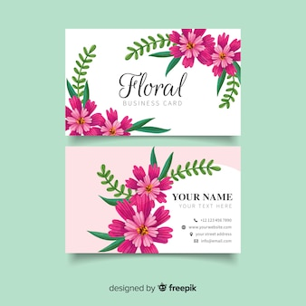Business card with watercolor purple flowers