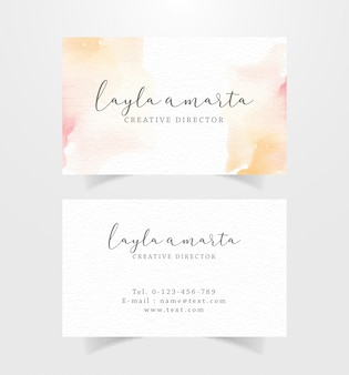Business card with watercolor red and orange color stains template