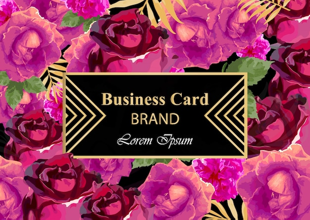 Business card with watercolor rose flowers. abstract composition modern design backgrounds